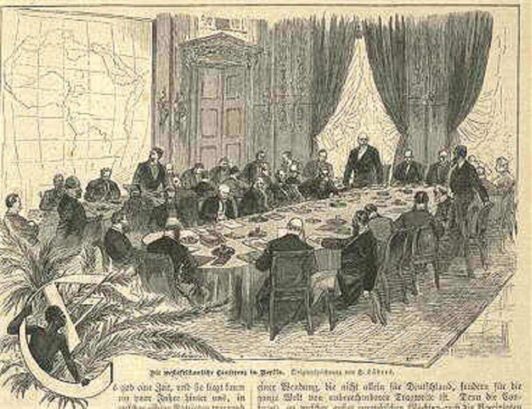 Gravure montrant les participants à la conférence de Berlin en 1885.