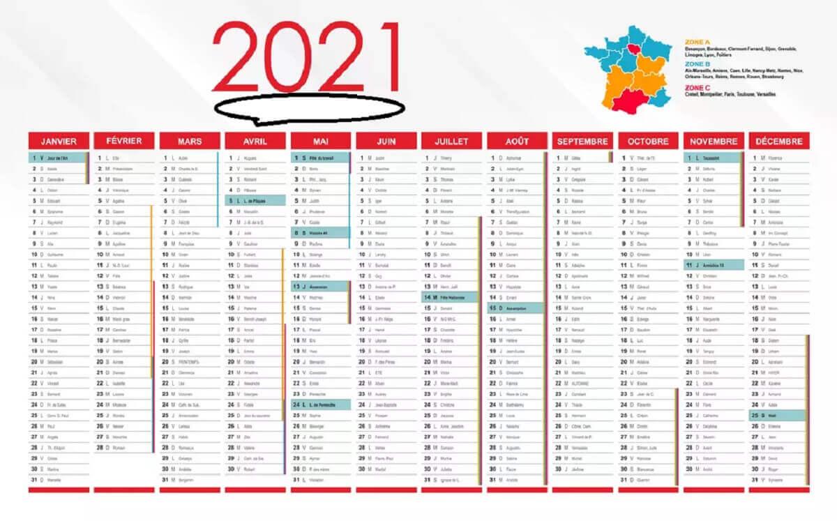 Calendrier 2021 gratuit indiquant les jours fériés et les vacances scolaires. Zoomer sur l'image et enregistrer sous © Kafunel.com pour le télécharger au format JPEG