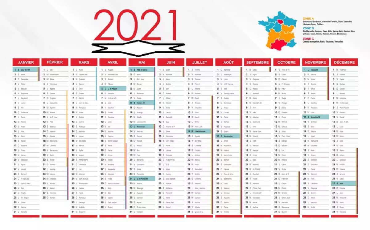 Calendrier des jours fériés 2021 © kafunel.com en France