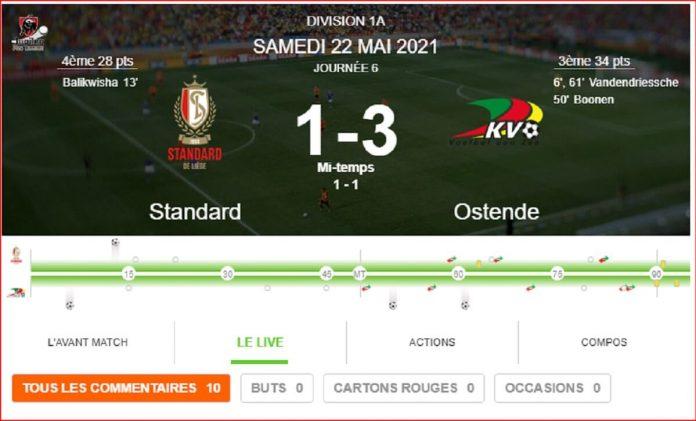 Le Standard s'incline logiquement face à Ostende (1-3) et termine dernier des Europe play-offs Capture