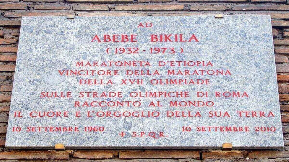 Plaque_celebrating_Abebe_Bikila_on_Via_di_San_Gregorio